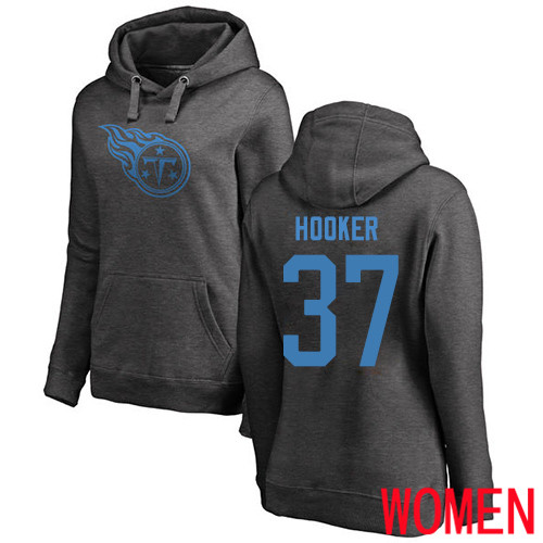 Tennessee Titans Ash Women Amani Hooker One Color NFL Football 37 Pullover Hoodie Sweatshirts