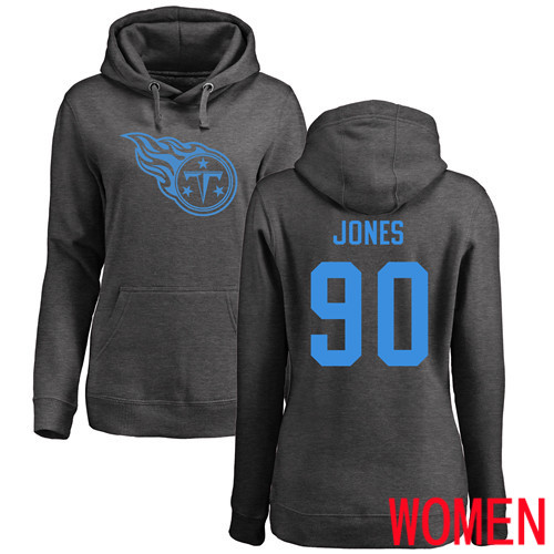 Tennessee Titans Ash Women DaQuan Jones One Color NFL Football 90 Pullover Hoodie Sweatshirts