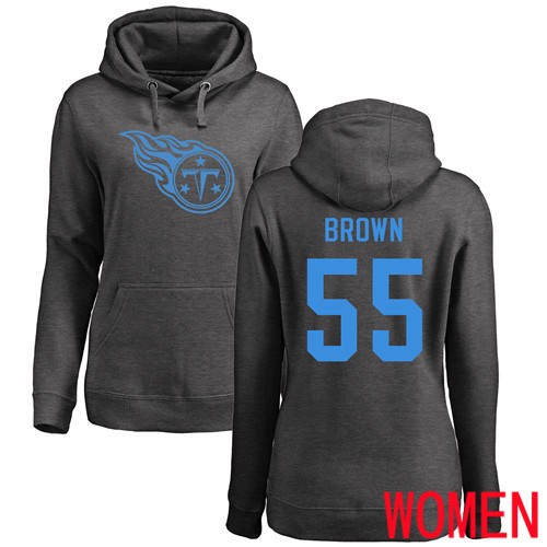 Tennessee Titans Ash Women Jayon Brown One Color NFL Football 55 Pullover Hoodie Sweatshirts