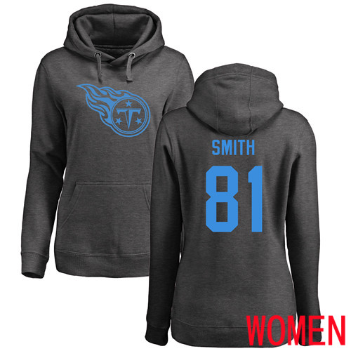 Tennessee Titans Ash Women Jonnu Smith One Color NFL Football 81 Pullover Hoodie Sweatshirts