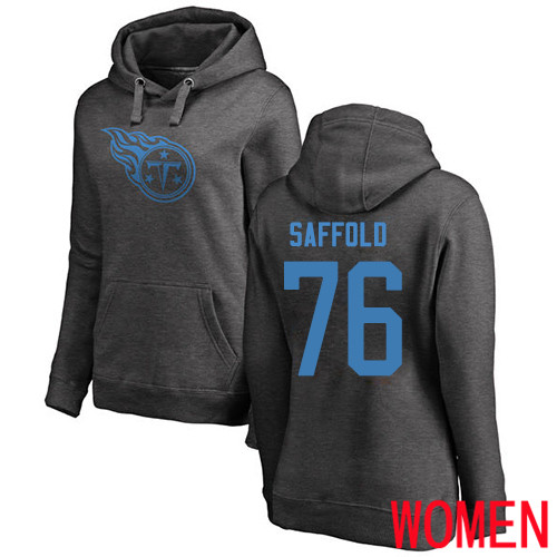 Tennessee Titans Ash Women Rodger Saffold One Color NFL Football 76 Pullover Hoodie Sweatshirts