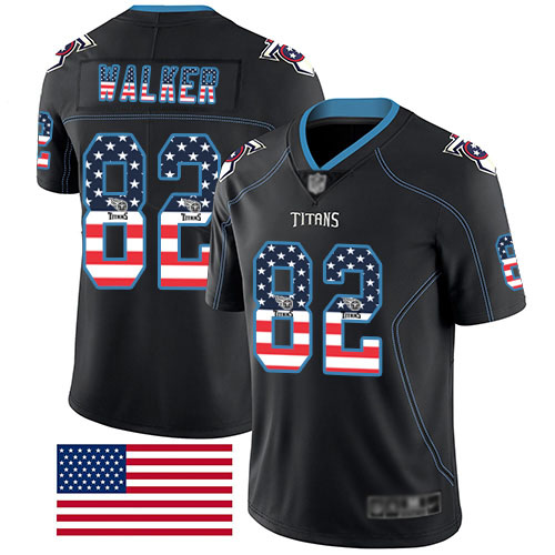 Tennessee Titans Limited Black Men Delanie Walker Jersey NFL Football 82 Rush USA Flag