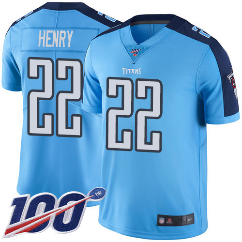 Tennessee Titans Limited Light Blue Men Derrick Henry Jersey NFL Football 22 100th Season Rush Vapor Untouchable