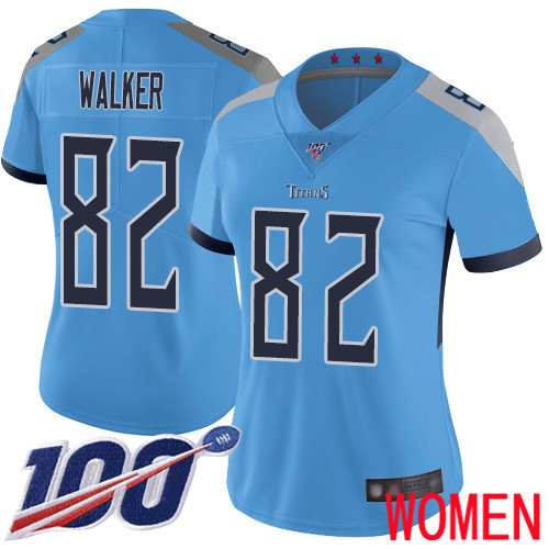 Tennessee Titans Limited Light Blue Women Delanie Walker Alternate Jersey NFL Football 82 100th Season Vapor Untouchable