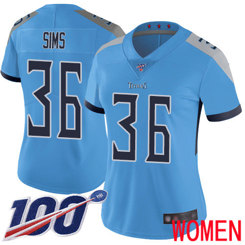 Tennessee Titans Limited Light Blue Women LeShaun Sims Alternate Jersey NFL Football 36 100th Season Vapor Untouchable
