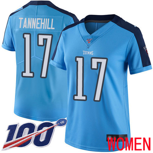 Tennessee Titans Limited Light Blue Women Ryan Tannehill Jersey NFL Football 17 100th Season Rush Vapor Untouchable