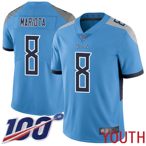 Tennessee Titans Limited Light Blue Youth Marcus Mariota Alternate Jersey NFL Football 8 100th Season Vapor Untouchable