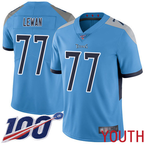Tennessee Titans Limited Light Blue Youth Taylor Lewan Alternate Jersey NFL Football 77 100th Season Vapor Untouchable