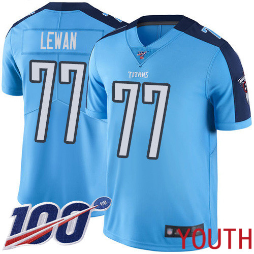 Tennessee Titans Limited Light Blue Youth Taylor Lewan Jersey NFL Football 77 100th Season Rush Vapor Untouchable