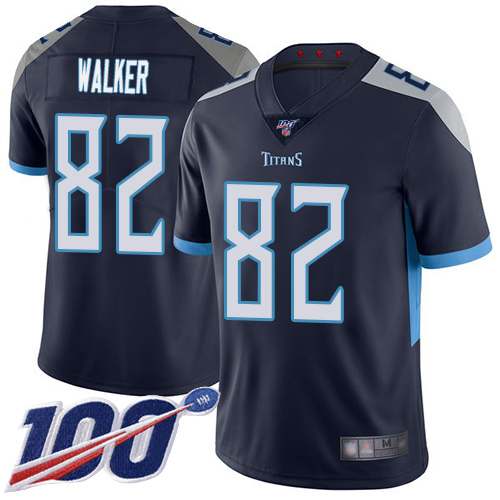 Tennessee Titans Limited Navy Blue Men Delanie Walker Home Jersey NFL Football 82 100th Season Vapor Untouchable