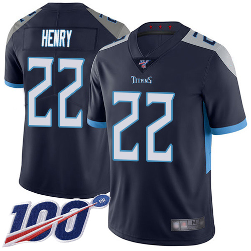Tennessee Titans Limited Navy Blue Men Derrick Henry Home Jersey NFL Football 22 100th Season Vapor Untouchable