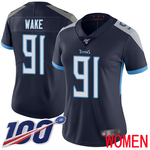 Tennessee Titans Limited Navy Blue Women Cameron Wake Home Jersey NFL Football 91 100th Season Vapor Untouchable