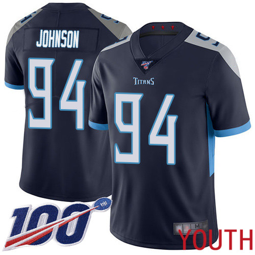 Tennessee Titans Limited Navy Blue Youth Austin Johnson Home Jersey NFL Football 94 100th Season Vapor Untouchable