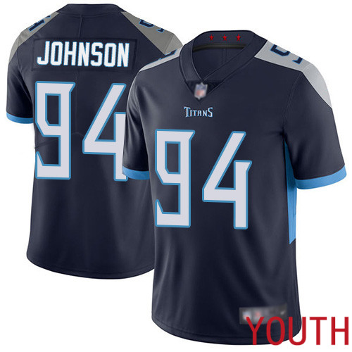 Tennessee Titans Limited Navy Blue Youth Austin Johnson Home Jersey NFL Football 94 Vapor Untouchable