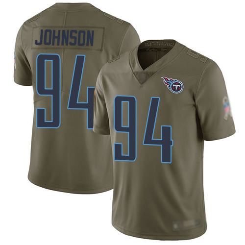 Tennessee Titans Limited Olive Men Austin Johnson Jersey NFL Football 94 2017 Salute to Service