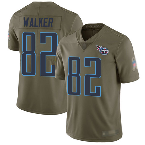 Tennessee Titans Limited Olive Men Delanie Walker Jersey NFL Football 82 2017 Salute to Service