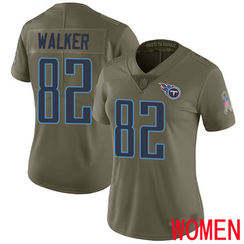 Tennessee Titans Limited Olive Women Delanie Walker Jersey NFL Football 82 2017 Salute to Service