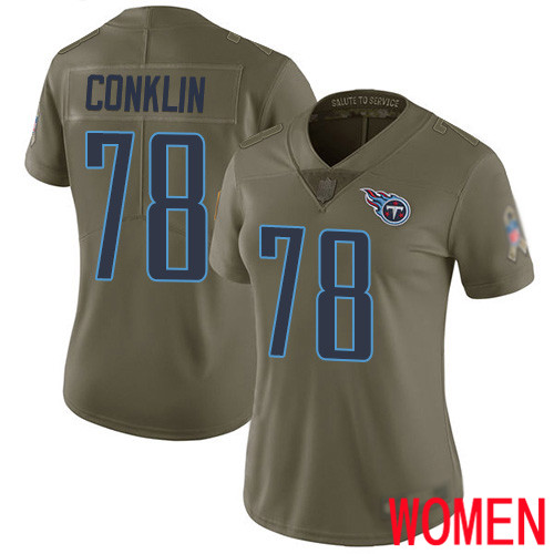 Tennessee Titans Limited Olive Women Jack Conklin Jersey NFL Football 78 2017 Salute to Service