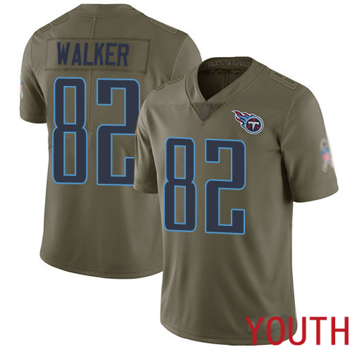 Tennessee Titans Limited Olive Youth Delanie Walker Jersey NFL Football 82 2017 Salute to Service