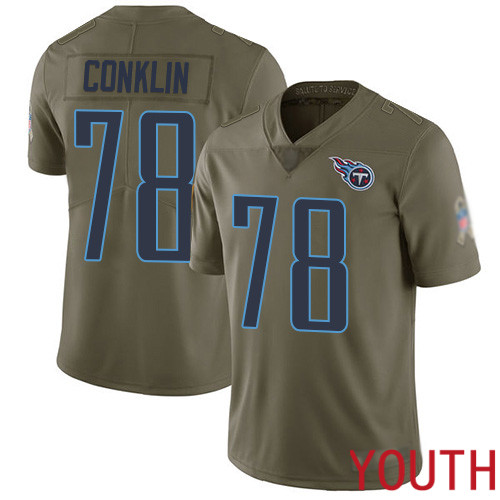 Tennessee Titans Limited Olive Youth Jack Conklin Jersey NFL Football 78 2017 Salute to Service
