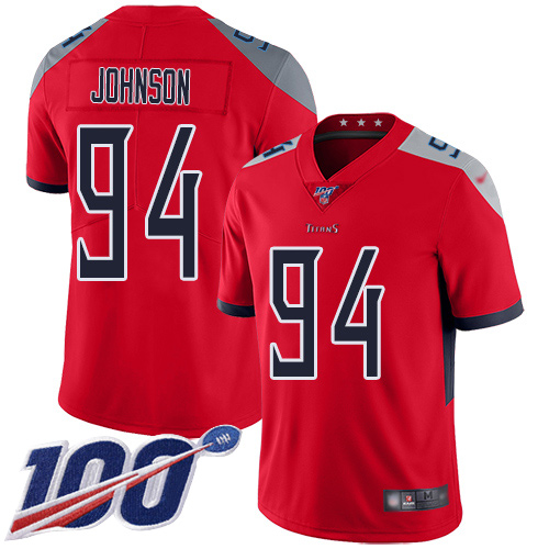 Tennessee Titans Limited Red Men Austin Johnson Jersey NFL Football 94 100th Season Inverted Legend