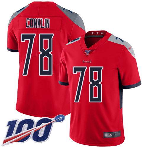 Tennessee Titans Limited Red Men Jack Conklin Jersey NFL Football 78 100th Season Inverted Legend