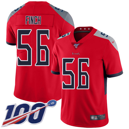 Tennessee Titans Limited Red Men Sharif Finch Jersey NFL Football 56 100th Season Inverted Legend