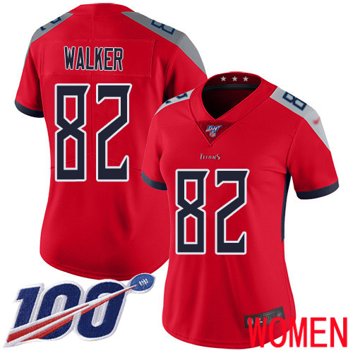 Tennessee Titans Limited Red Women Delanie Walker Jersey NFL Football 82 100th Season Inverted Legend