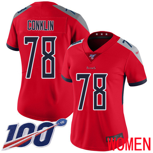 Tennessee Titans Limited Red Women Jack Conklin Jersey NFL Football 78 100th Season Inverted Legend
