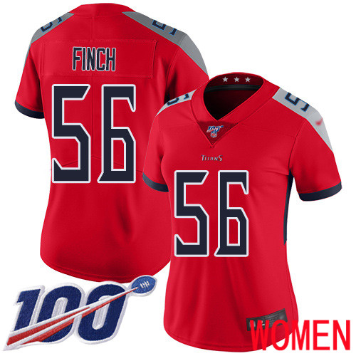 Tennessee Titans Limited Red Women Sharif Finch Jersey NFL Football 56 100th Season Inverted Legend