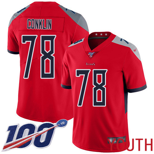 Tennessee Titans Limited Red Youth Jack Conklin Jersey NFL Football 78 100th Season Inverted Legend