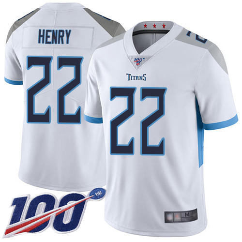 Tennessee Titans Limited White Men Derrick Henry Road Jersey NFL Football 22 100th Season Vapor Untouchable