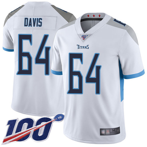 Tennessee Titans Limited White Men Nate Davis Road Jersey NFL Football 64 100th Season Vapor Untouchable
