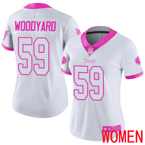 Tennessee Titans Limited White Pink Women Wesley Woodyard Jersey NFL Football 59 Rush Fashion