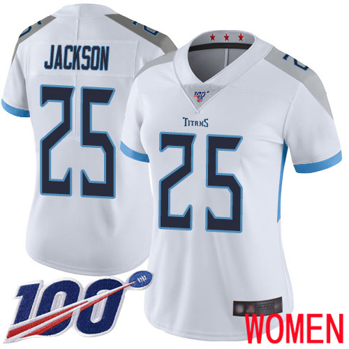 Tennessee Titans Limited White Women Adoree Jackson Road Jersey NFL Football 25 100th Season Vapor Untouchable