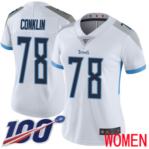 Tennessee Titans Limited White Women Jack Conklin Road Jersey NFL Football 78 100th Season Vapor Untouchable