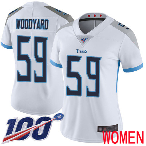 Tennessee Titans Limited White Women Wesley Woodyard Road Jersey NFL Football 59 100th Season Vapor Untouchable