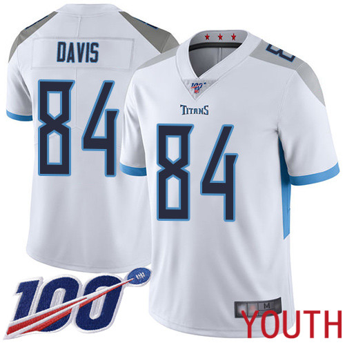 Tennessee Titans Limited White Youth Corey Davis Road Jersey NFL Football 84 100th Season Vapor Untouchable