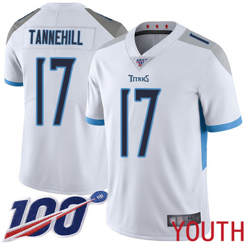 Tennessee Titans Limited White Youth Ryan Tannehill Road Jersey NFL Football 17 100th Season Vapor Untouchable
