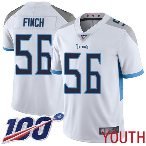 Tennessee Titans Limited White Youth Sharif Finch Road Jersey NFL Football 56 100th Season Vapor Untouchable