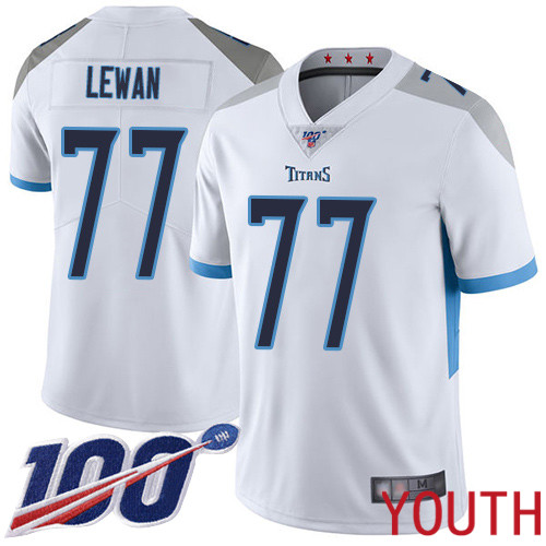 Tennessee Titans Limited White Youth Taylor Lewan Road Jersey NFL Football 77 100th Season Vapor Untouchable