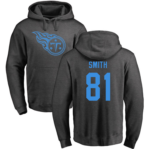 Tennessee Titans Men Ash Jonnu Smith One Color NFL Football 81 Pullover Hoodie Sweatshirts