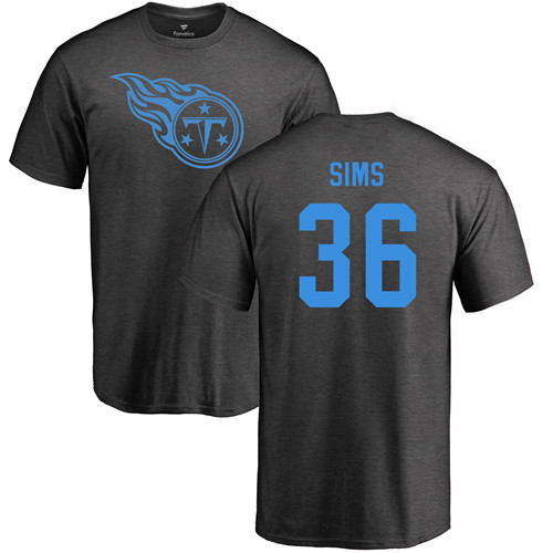 Tennessee Titans Men Ash LeShaun Sims One Color NFL Football 36 T Shirt