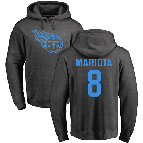 Tennessee Titans Men Ash Marcus Mariota One Color NFL Football 8 Pullover Hoodie Sweatshirts