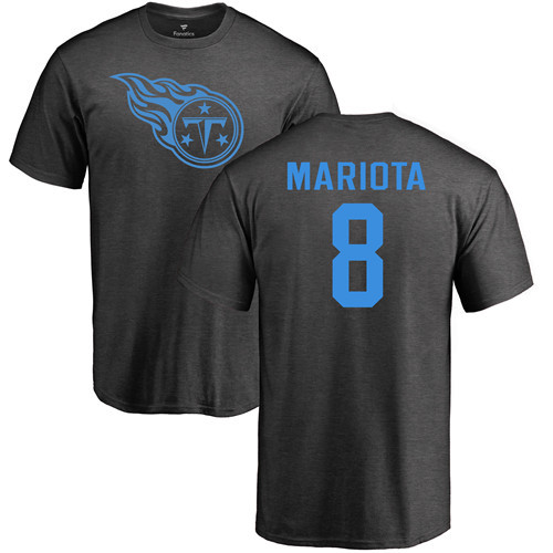 Tennessee Titans Men Ash Marcus Mariota One Color NFL Football 8 T Shirt