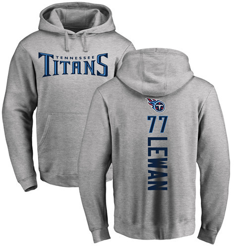 Tennessee Titans Men Ash Taylor Lewan Backer NFL Football 77 Pullover Hoodie Sweatshirts