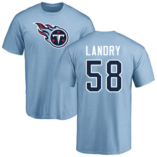 Tennessee Titans Men Light Blue Harold Landry Name and Number Logo NFL Football 58 T Shirt