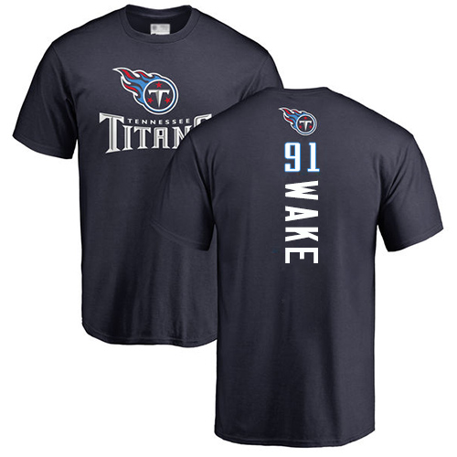 Tennessee Titans Men Navy Blue Cameron Wake Backer NFL Football 91 T Shirt