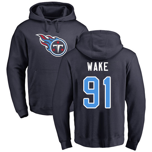 Tennessee Titans Men Navy Blue Cameron Wake Name and Number Logo NFL Football 91 Pullover Hoodie Sweatshirts