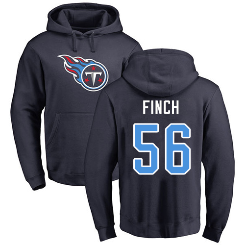 Tennessee Titans Men Navy Blue Sharif Finch Name and Number Logo NFL Football 56 Pullover Hoodie Sweatshirts